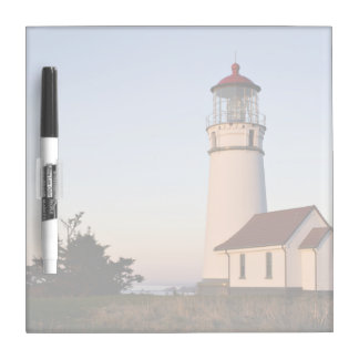 White lighthouse with attached building Dry-Erase board
