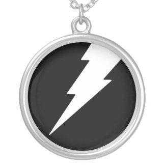 White Lightning Round Pendant Necklace