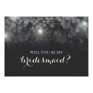 White Lights Sparkle Will You Be My Bridesmaid Card