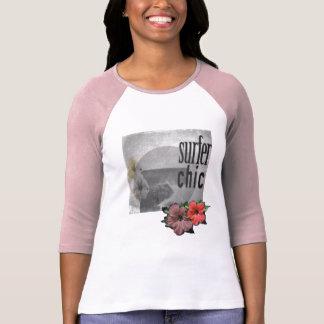 White-lilac-Island-beach-surf-Tee-for-women T-Shirt