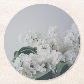White Lilac Round Paper Coaster