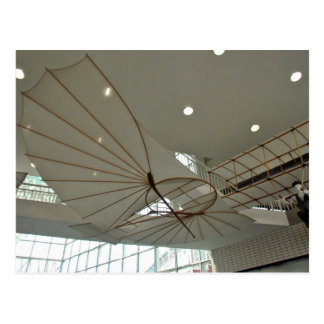 White Lilenthal hang glider in museum Postcard