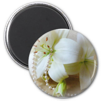 White lilies 2 inch round magnet