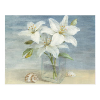 White Lilies and Shells Postcard