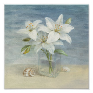 White Lilies and Shells Poster