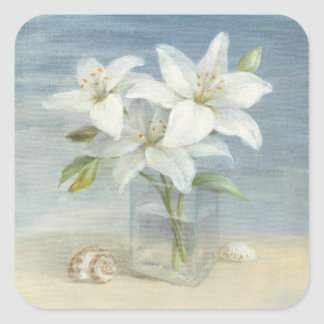 White Lilies and Shells Square Sticker