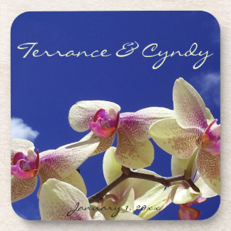 White Lilies and Sky Personal Wedding Drink Coaster