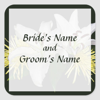 White Lilies and Yellow Mums Save the Date Square Sticker