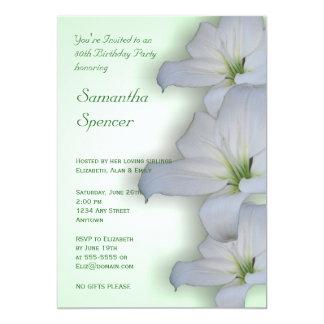 White Lilies Birthday Invitation