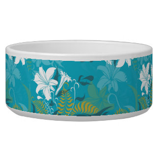 White Lilies Blue Background Bowl