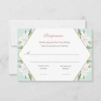White Lilies & Mild Mint RSVP Card