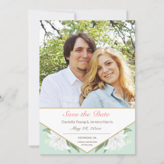 White Lilies & Mild Mint Save the Date Card
