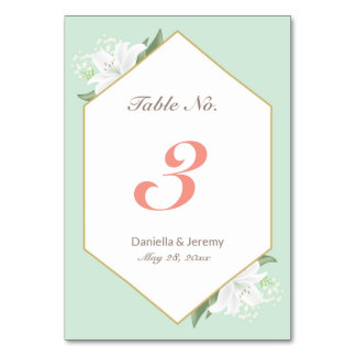 White Lilies & Mild Mint Table Number