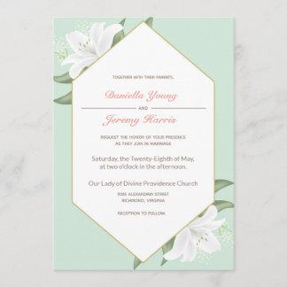 White Lilies & Mild Mint Wedding Invitation