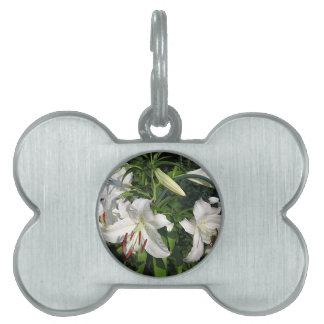 White Lilies Pet Name Tags