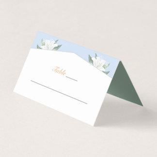 White Lilies & Powder Blue Place Card