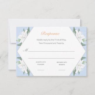 White Lilies & Powder Blue RSVP Card