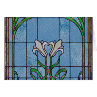 White Lilies Stained Glass Look Card