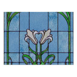 White Lilies Stained Glass Look Postcard