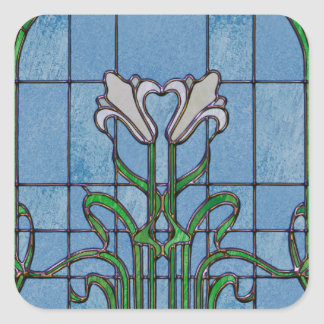 White Lilies Stained Glass Look Square Sticker
