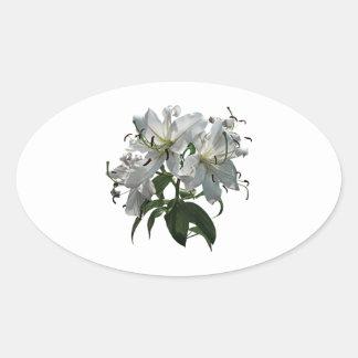 White Lilies Oval Sticker