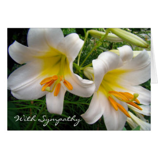 White Lilies Sympathy Stationery Note Card