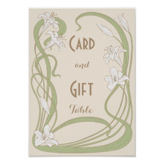 White Lilies Wedding Gift Table Poster