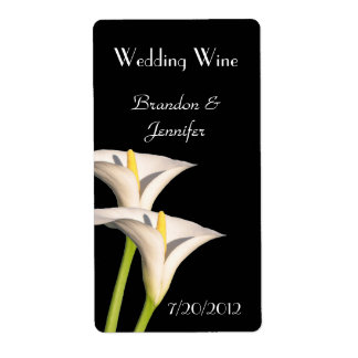White Lilies Wedding Mini Wine Labels