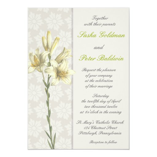 "White Lillies Floral Wedding Invitation 5"" X 7"" Invitation Card"