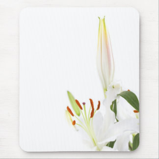 White lillys with copy space mouse pad