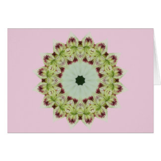 White Lily 16 Point Star Kaleidoscope Card
