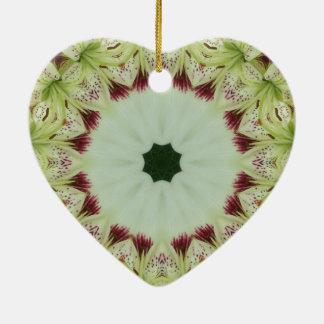White Lily 16 Point Star Kaleidoscope Ceramic Ornament