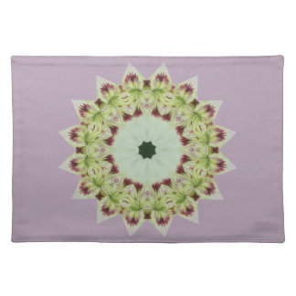 White Lily 16 Point Star Kaleidoscope Placemat