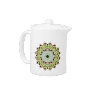White Lily 16 Point Star Kaleidoscope Teapot