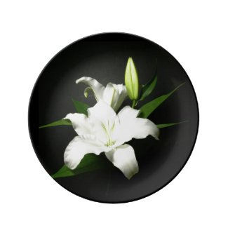 White Lily accent Black Porcelain Dinner Plate