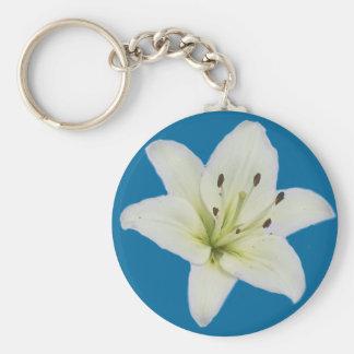 White Lily Basic Round Button Keychain
