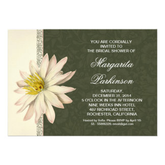 white lily beautiful bridal shower invitations
