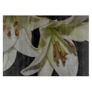 White Lily Blossoms Flowers Peace Love Juanita Cutting Board