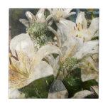 White Lily Easter Art Ceramic Tile