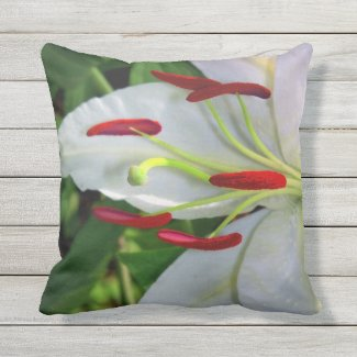 White Lily Flower Throw Pillow