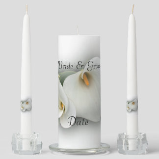White Lily Flower Unity Wedding Candle