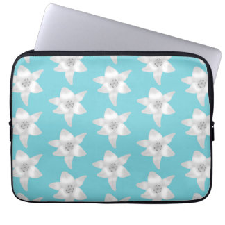 White Lily Flowers on a Teal - Turquoise Color Laptop Computer Sleeve