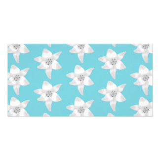White Lily Flowers on a Teal - Turquoise Color Picture Card