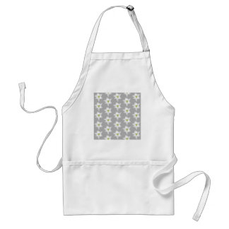 White Lily Flowers on Gray Background. Adult Apron
