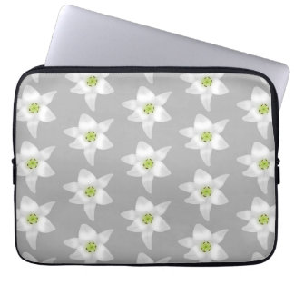 White Lily Flowers on Gray Background Laptop Sleeve