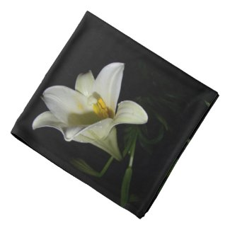White Lily Flowers Photography Bandana Scarf