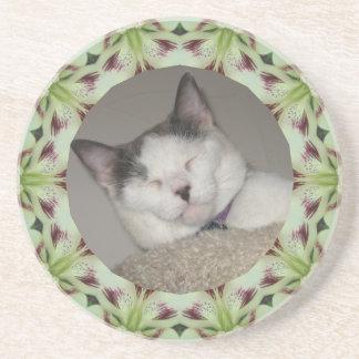 White Lily Kaleidoscope Photo Frame Drink Coaster