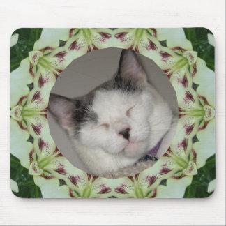 White Lily Kaleidoscope Photo Frame Mouse Pad