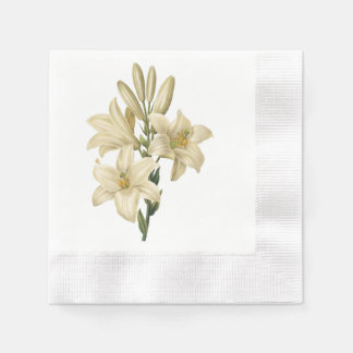 white lily(Lilium candidum) by Redouté Paper Napkin