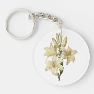 white lily(Lilium candidum) by Redouté Single-Sided Round Acrylic Keychain